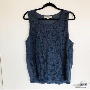 LOFT Navy blue crochet double lined tank top